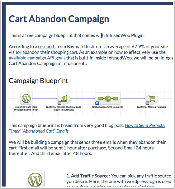 Cart Abandonment Campaign Infusionsoft Woocommerce